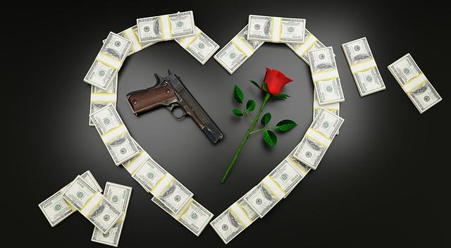 peníze, růže a pistole
